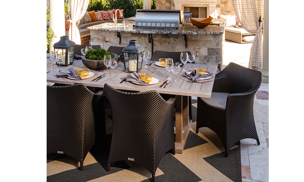 Image Slideshow Image: JSI Wisor Outdoor Living 10 2 2013 dining table grey rug 8x10